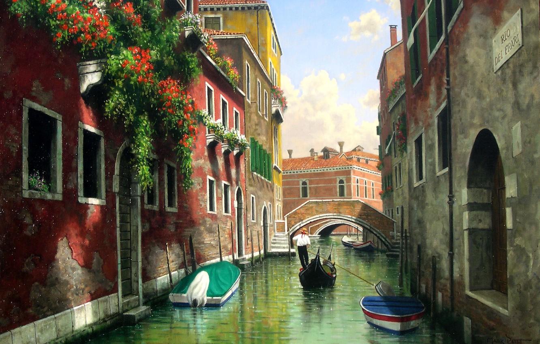 Photo wallpaper water, flowers, bridge, Windows, home, picture, boats, Italy, Venice, channel, gondola, balconies, Mark Pettit