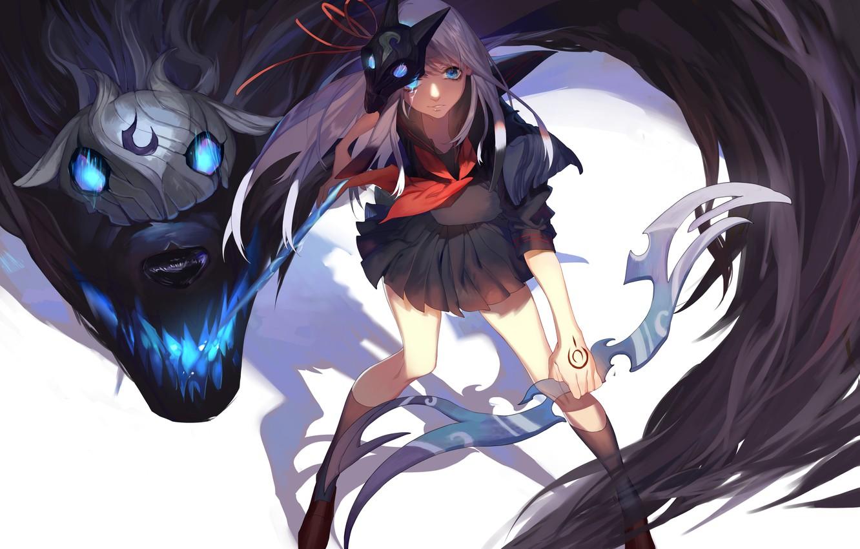 Photo wallpaper girl, weapons, magic, monster, anime, mask, art, league of legends, lamb, dj.adonis, kindred