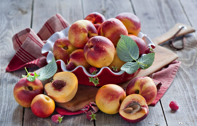 Photo wallpaper leaves, berries, raspberry, dishes, Board, fruit, peaches, nectarine, Anna Verdina