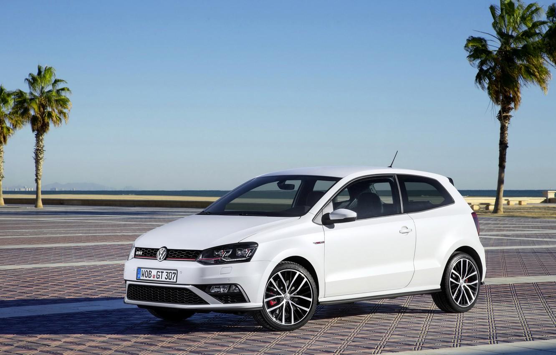 Photo wallpaper white, photo, Volkswagen, car, 2014, Polo GTI