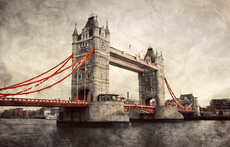 Photo wallpaper England, London, Tower bridge, vintage, Tower Bridge, London, England, Thames River