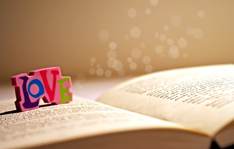 Photo wallpaper love, letters, book, love, words, gum