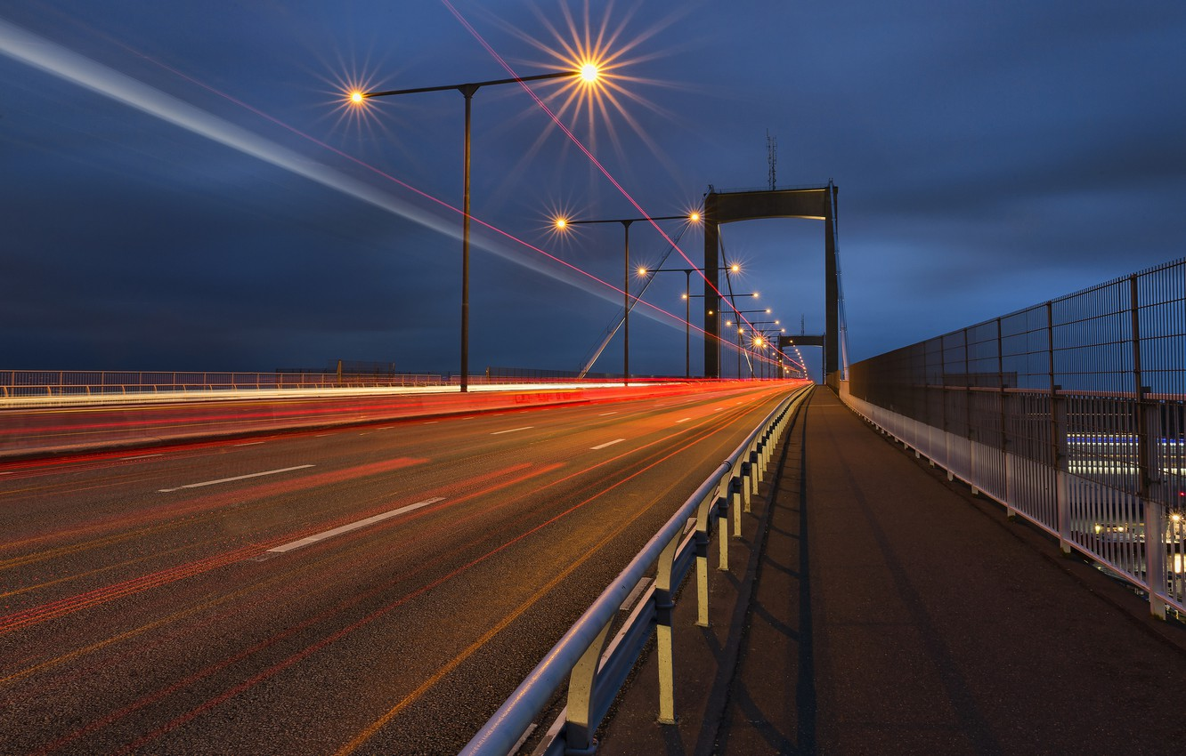 Photo wallpaper road, the sky, night, bridge, the city, lights, track, excerpt, lights, Sweden, blue, traffic, Gothenburg