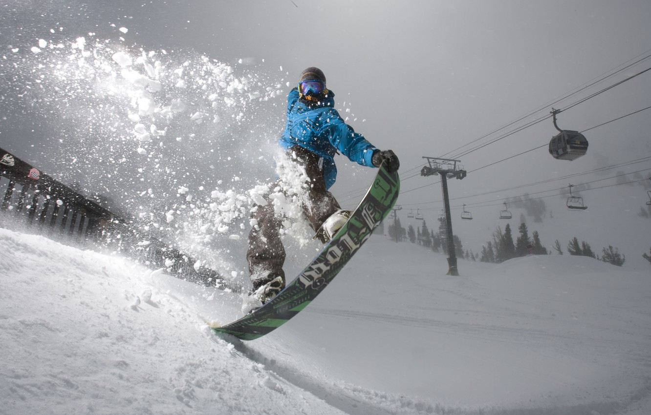 Photo wallpaper forest, snow, mountains, the film, snowboard, snowboarding, the trick, case, spruce jump, dune, the art …