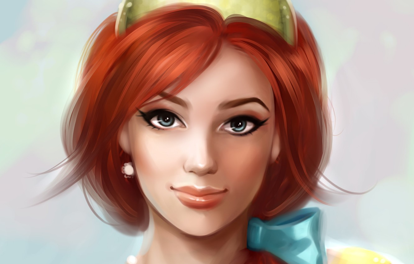 Photo wallpaper look, girl, face, arrows, earrings, makeup, art, beads, bow, red hair, Disney, Anastasia
