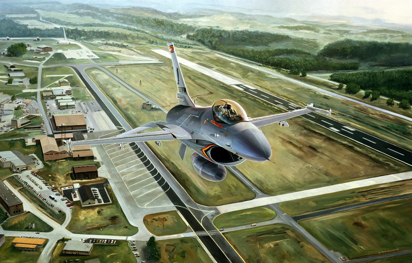 Photo wallpaper aviation, the plane, figure, fighter, the airfield, F-16, F-16