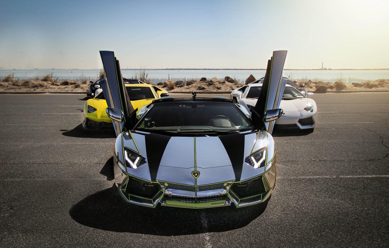 Photo wallpaper white, yellow, silver, white, lamborghini, yellow, aventador, lp700-4, Lamborghini, aventador, silvery