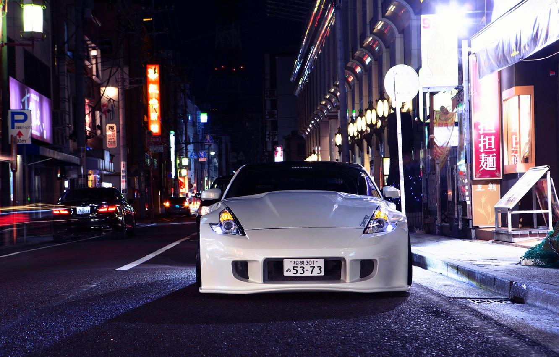 Photo wallpaper Nissan, white, front, 370z, stance, vossen wheels