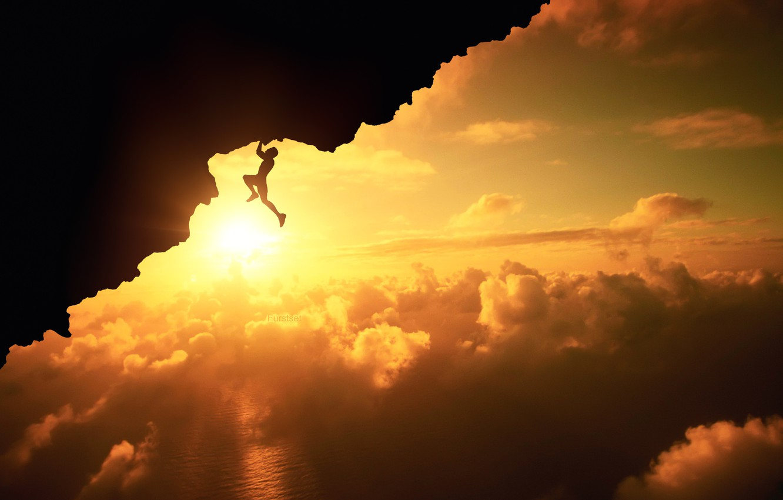 Photo wallpaper Clouds, Sky, Sport, Silhouette, Above, Fatal, Climb