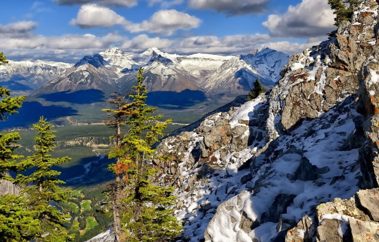 Photo wallpaper the sky, clouds, snow, trees, mountains, photo, rocks