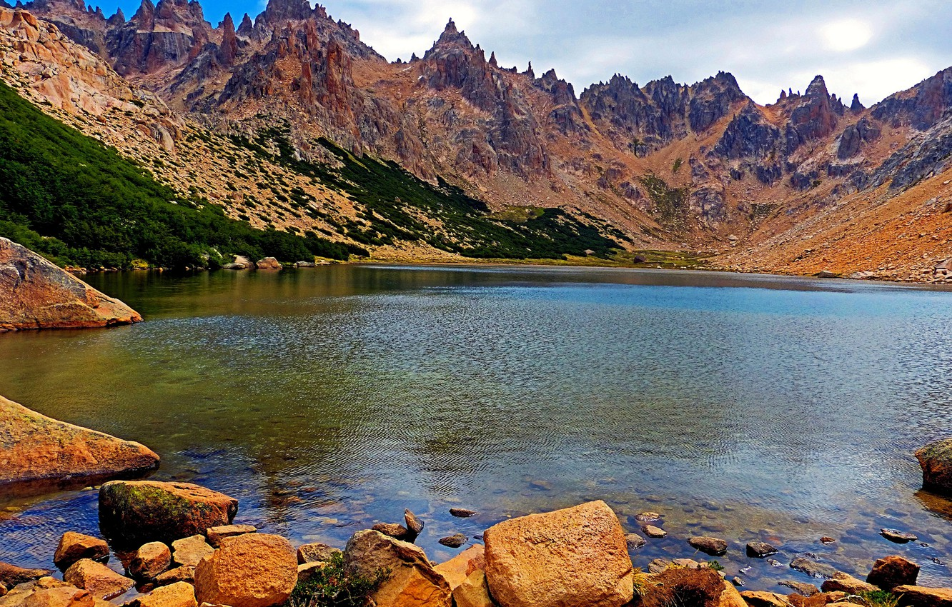 Photo wallpaper mountains, lake, stones, rocks, shore, Argentina, Patagonia