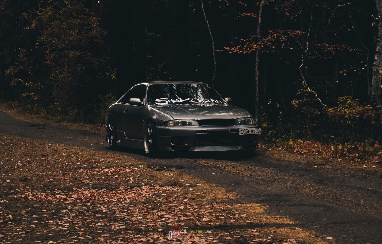Photo wallpaper car, nissan, skyline, gtr, autumn, r33