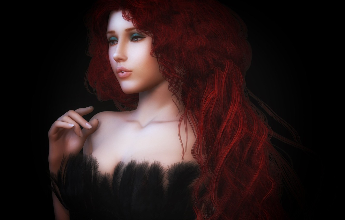Photo wallpaper look, girl, face, rendering, hair, feathers, hands, makeup, dress, freckles, black background, curls, strap