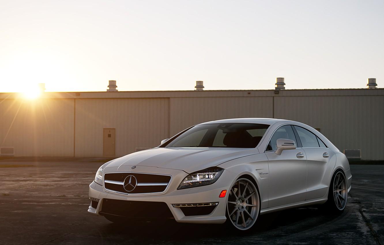 Photo wallpaper white, the sun, sunset, Mercedes-Benz, white, Blik, AMG, the front part, Mercedes Benz, CLS-class, C218, …