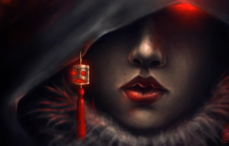 Photo wallpaper girl, eyes, art, hood, brush, amulet, suspension