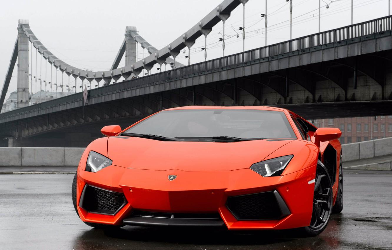 Photo wallpaper bridge, rain, lamborghini, front view, Lamborghini, aventador lp700-4, avantart