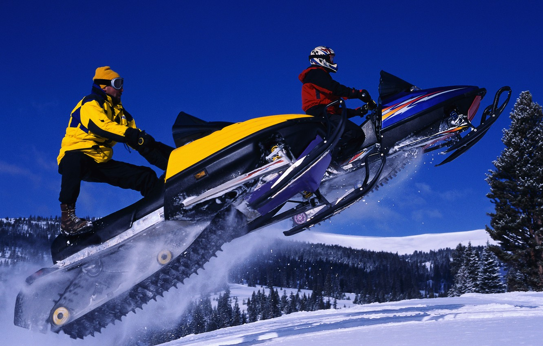 Photo wallpaper winter, the sky, jump, snowmobiles