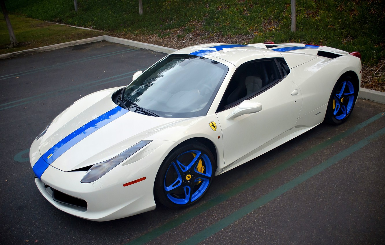 Photo wallpaper Ferrari, 458, Italia, Supercar, Edition, Blue/White