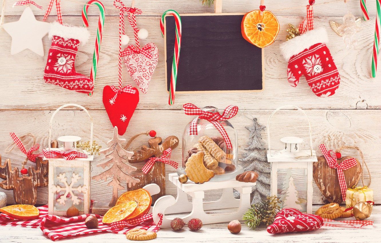 Photo wallpaper snow, decoration, balls, New Year, Christmas, Christmas, Xmas, cookies, decoration, Merry