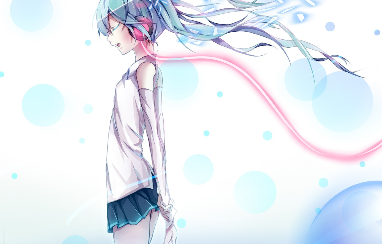 Photo wallpaper water, girl, headphones, art, wire, vocaloid, hatsune miku, Vocaloid, paparins