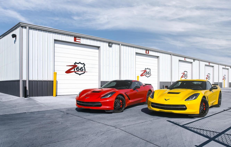 Photo wallpaper red, yellow, Corvette, Chevrolet, red, Chevrolet, yellow, front, boxes, Corvette, Stingray, Stingray