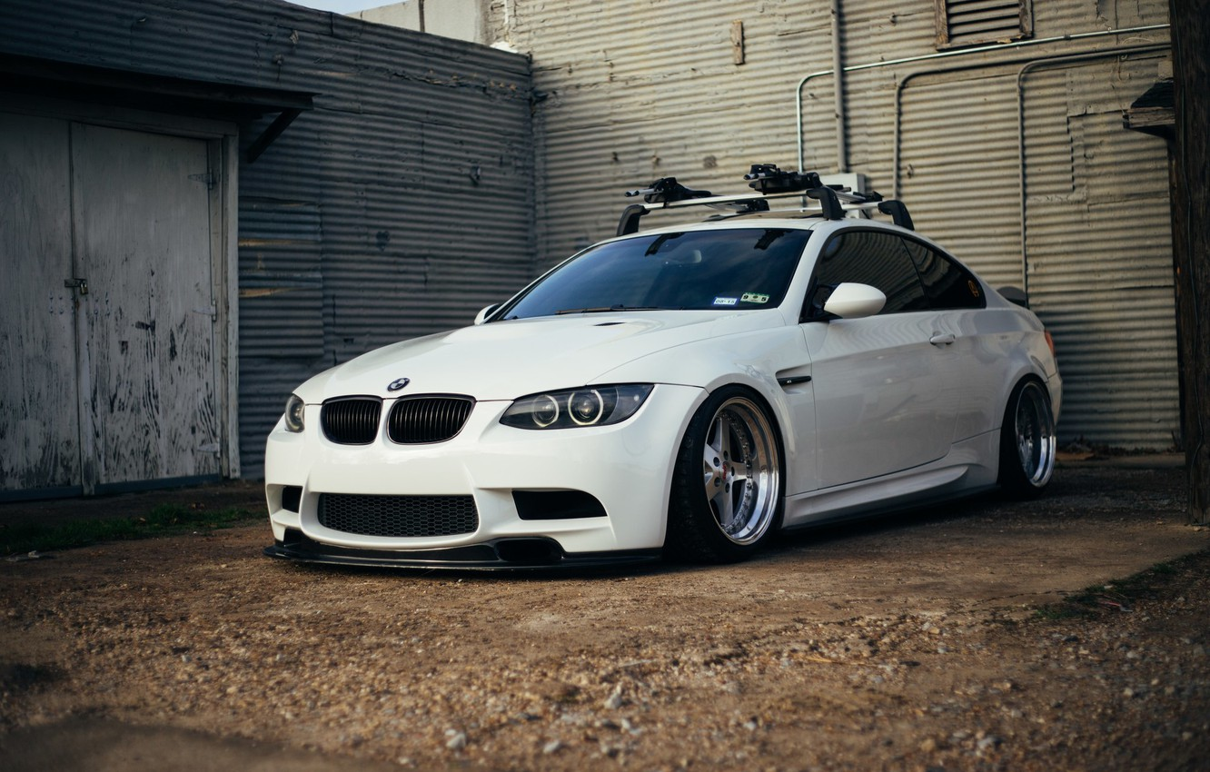 Photo wallpaper bmw, white, tuning, power, germany, low, e92, stance