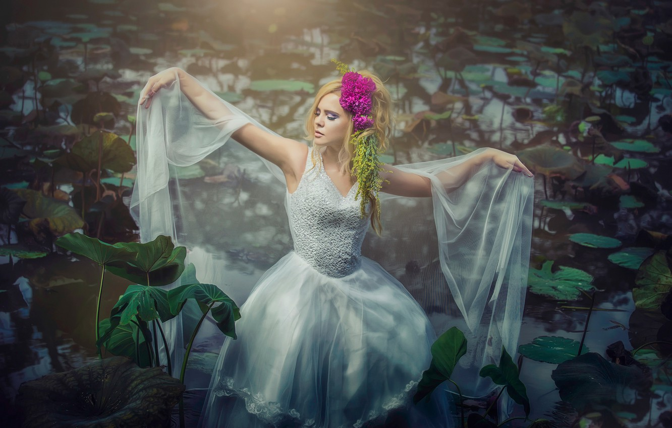 Photo wallpaper girl, dress, in the water, water lilies