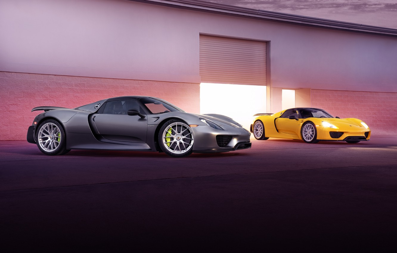Photo wallpaper Porsche, yellow, Spyder, 918, silvery