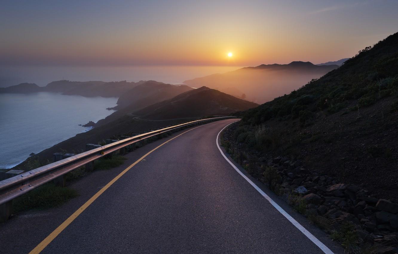 Photo wallpaper sea, sunset, Conzelman Road