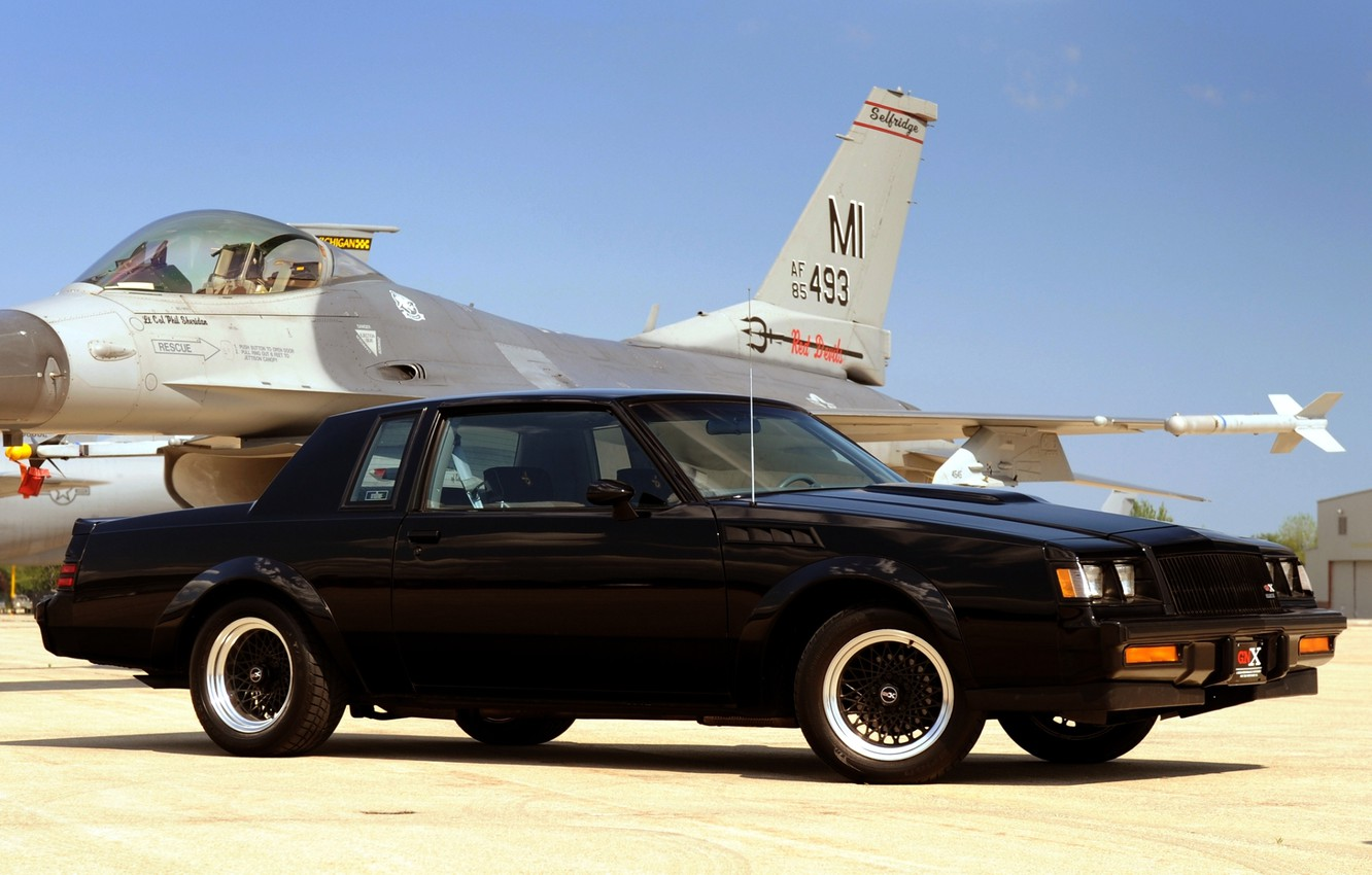 Photo wallpaper the sky, black, fighter, Buick, the plane, the front, Buick, 1987, Grand Neyshnl, GNX, Grand …