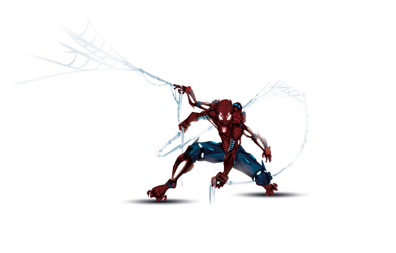 Photo wallpaper robot, web, white background, cyborg, comics, marvel, comics, spider-man, spider man