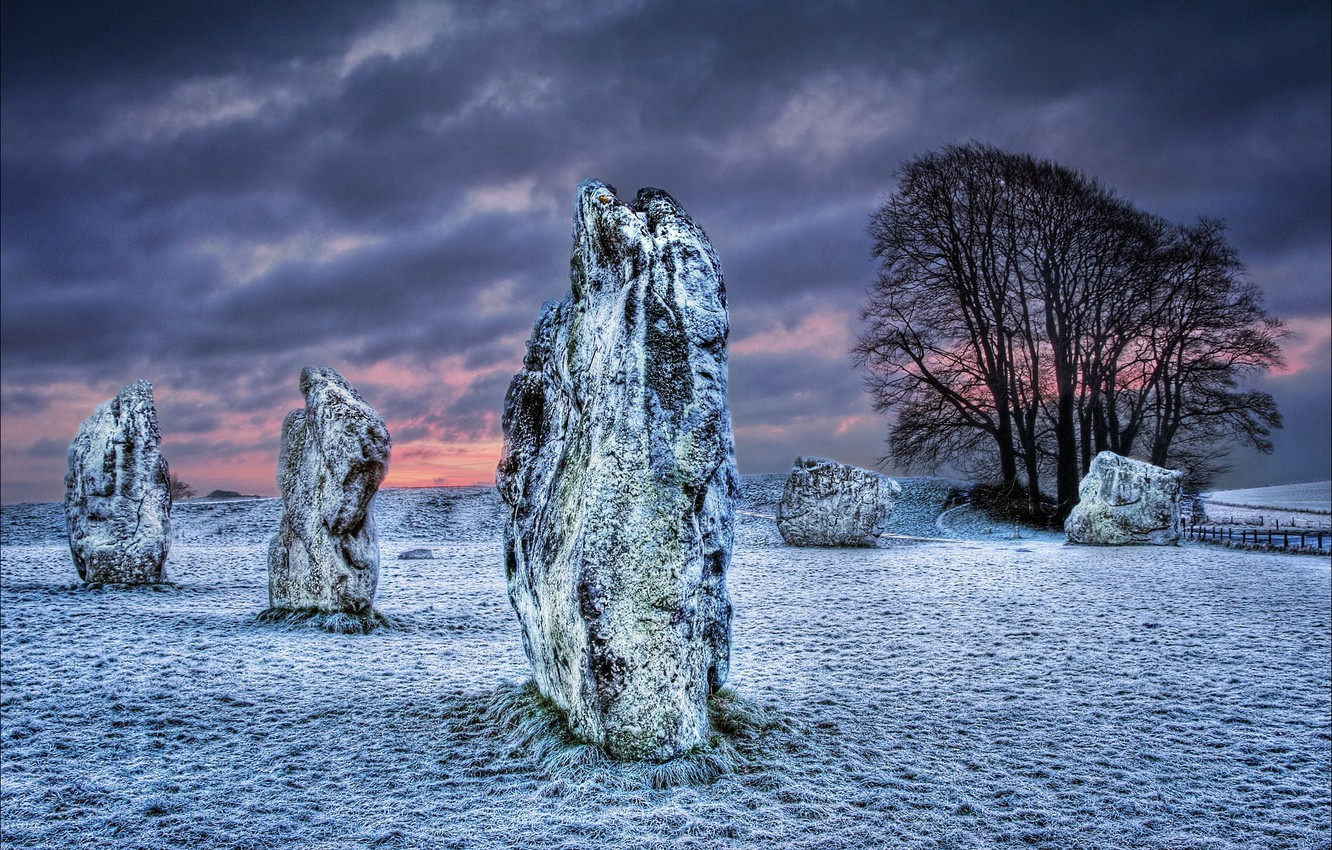Photo wallpaper winter, field, the sky, clouds, snow, night, stones, UK, Megalit, Wiltshire