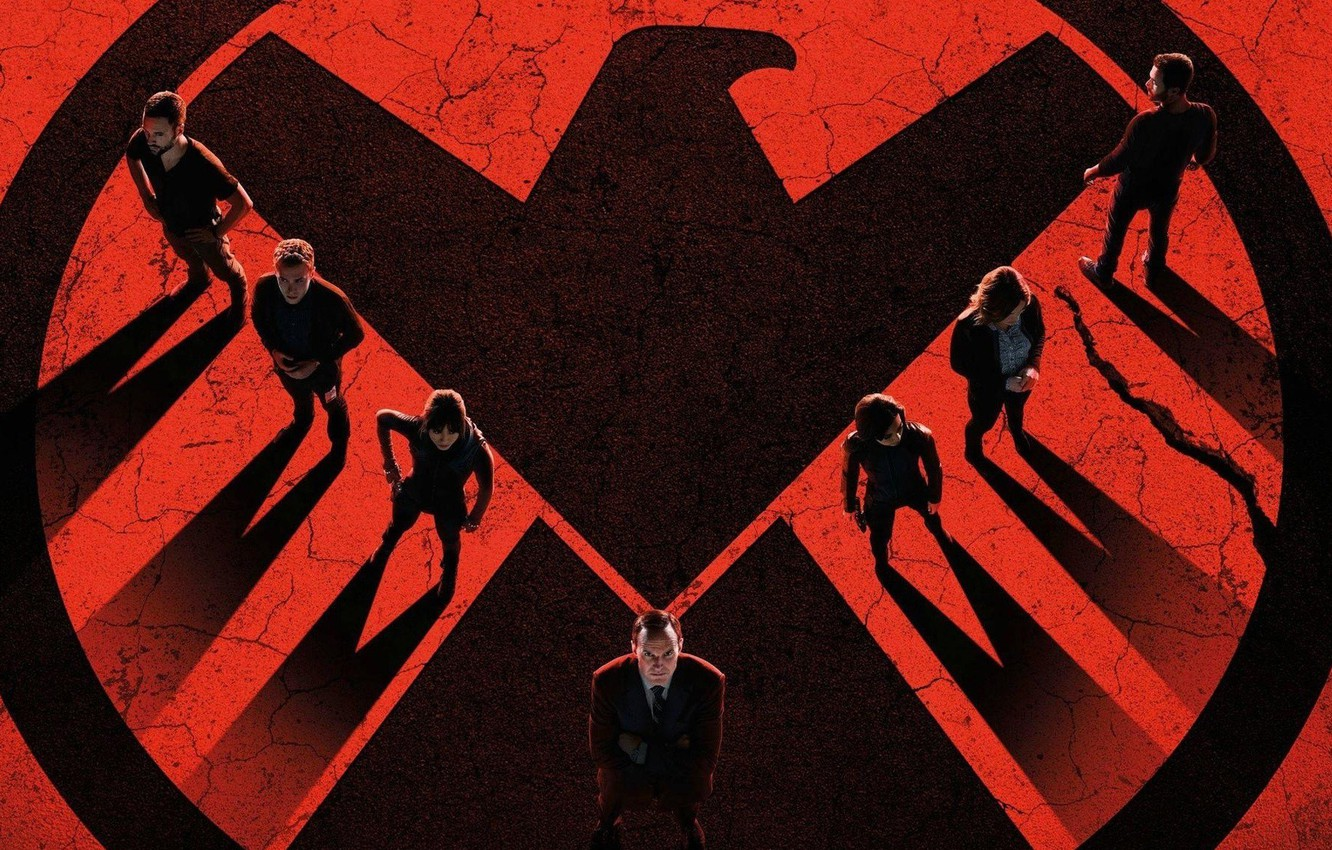 Photo wallpaper red, girl, logo, actor, woman, man, Marvel, eagle, series, falcon, shadows, suit, actress, tie, S. …