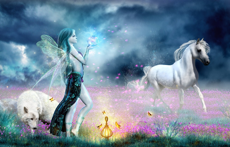 Wallpaper Magic Horse Wolf Fairy Images For Desktop Section Fantastika Download