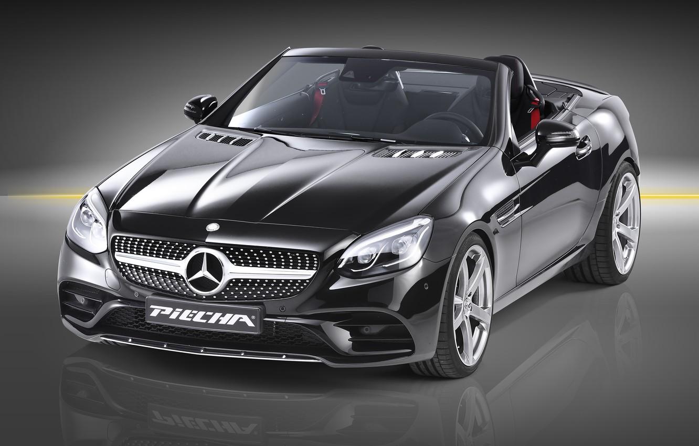Photo wallpaper Roadster, Mercedes-Benz, Roadster, black background, Mercedes, AMG, R172, SLK-Class, Piecha Design