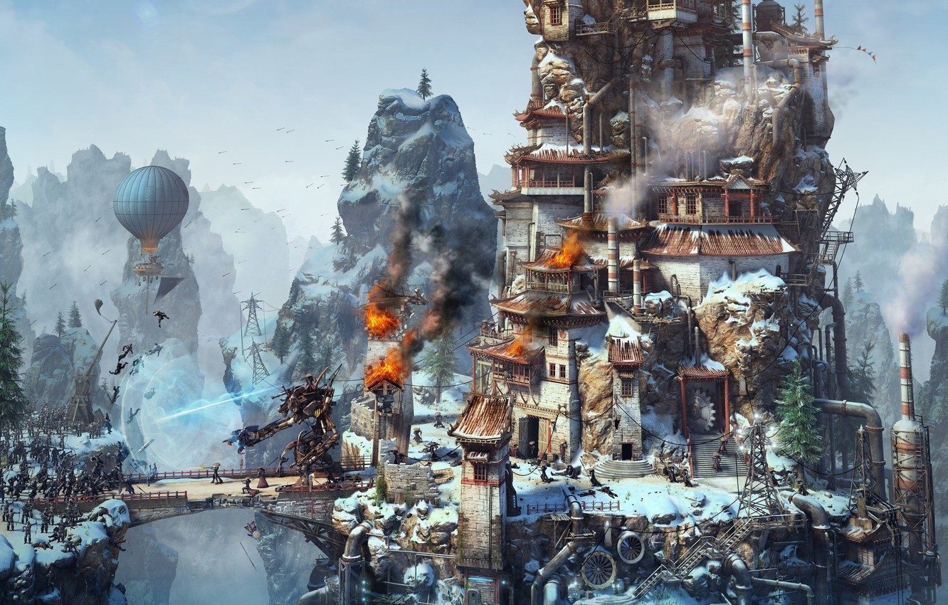 Photo wallpaper bridge, balloon, rocks, fire, smoke, robot, soldiers, fortress, the battle, game, combat, Rise of Nations