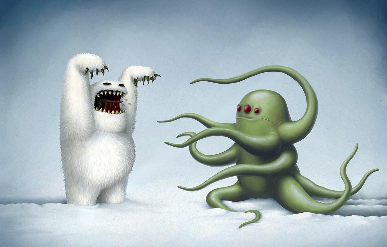 Photo wallpaper winter, snow, figure, octopus, monsters, Yeti, rob sheridan, black humor, scare, three eyes