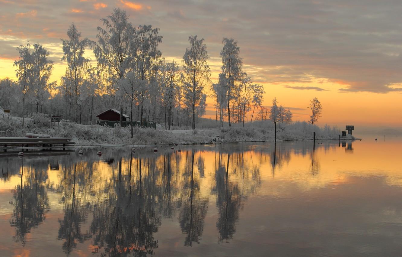 Photo wallpaper Sweden, sunset, winter