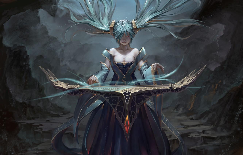 Photo wallpaper look, girl, magic, art, league of legends, sona