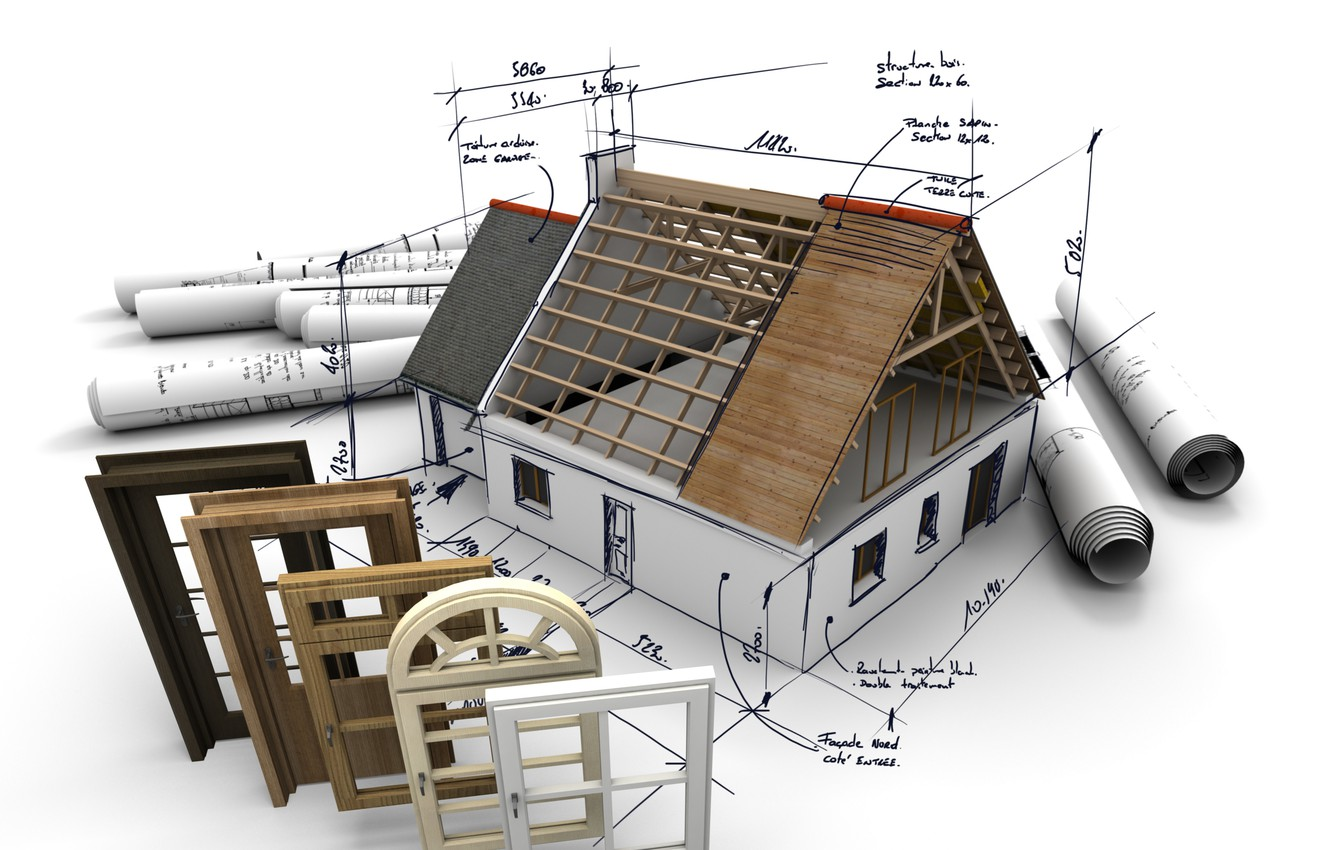 Photo wallpaper design, planes, roof, openings
