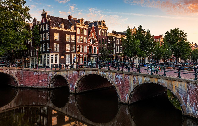 Photo wallpaper bridge, the city, river, building, home, Amsterdam, channel, Netherlands, Amsterdam, bikes, Nederland