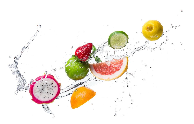 Photo wallpaper water, drops, squirt, lemon, orange, kiwi, strawberry, lime, citrus, slices