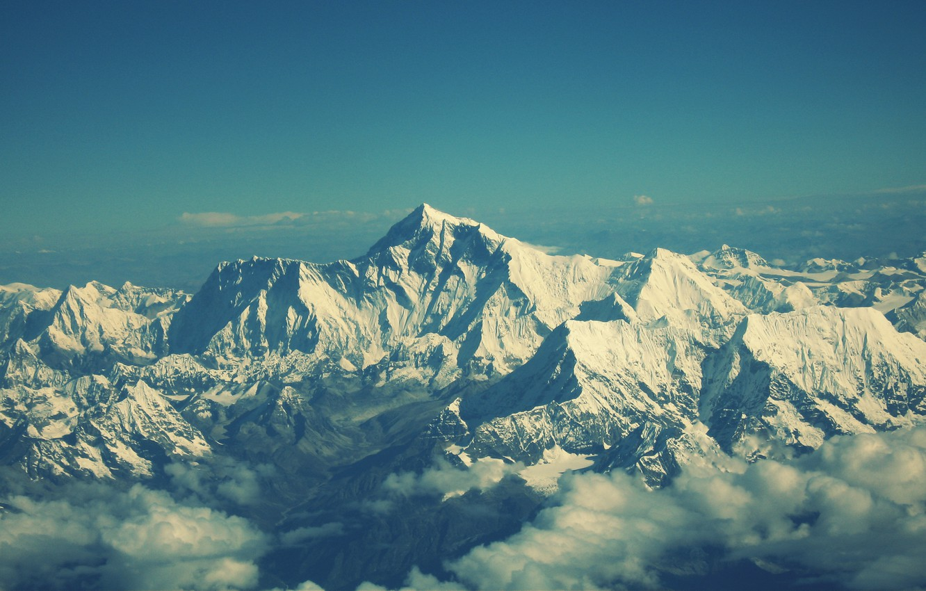 Photo wallpaper the sky, clouds, snow, landscape, mountains, view, mountain, Everest, mountains