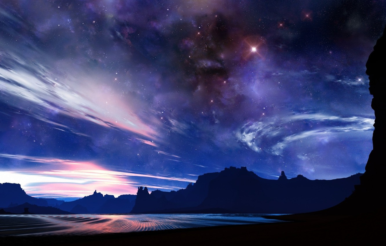 Photo wallpaper space, stars, Mountains