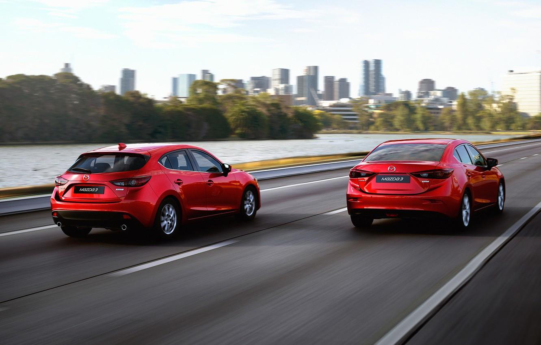 Photo wallpaper red, Auto, sedan, hatchback, Mazda, skyactive