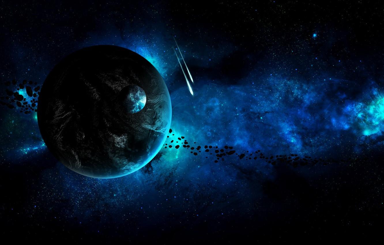 Photo wallpaper space, blue, planet, stars, asteroids
