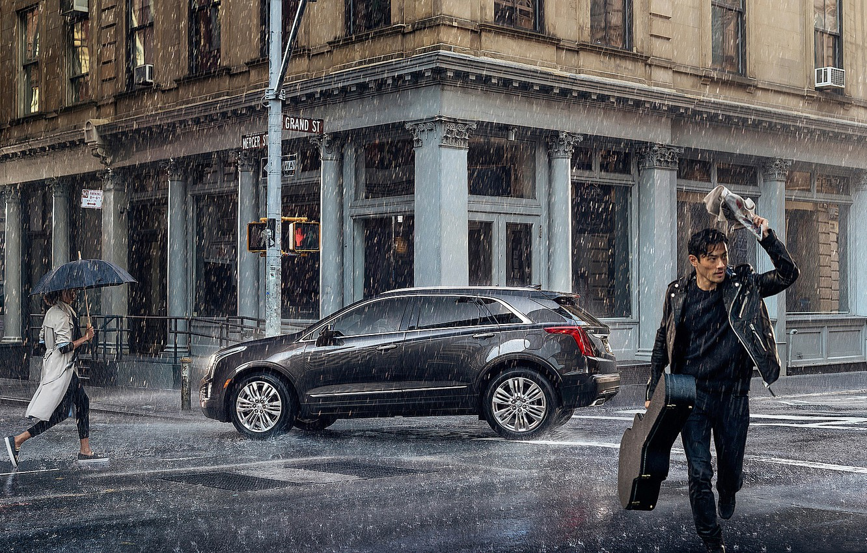 Photo wallpaper auto, people, rain, The city, the shower, Cadillac-XT5-Platinum.