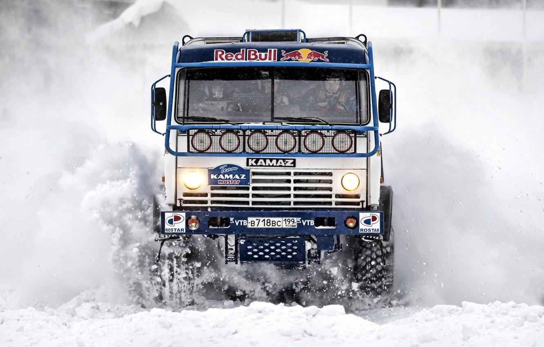 Photo wallpaper winter, snow, Paris, Russia, Red Bull, Dakar, KAMAZ, Kamaz Master, Chagin