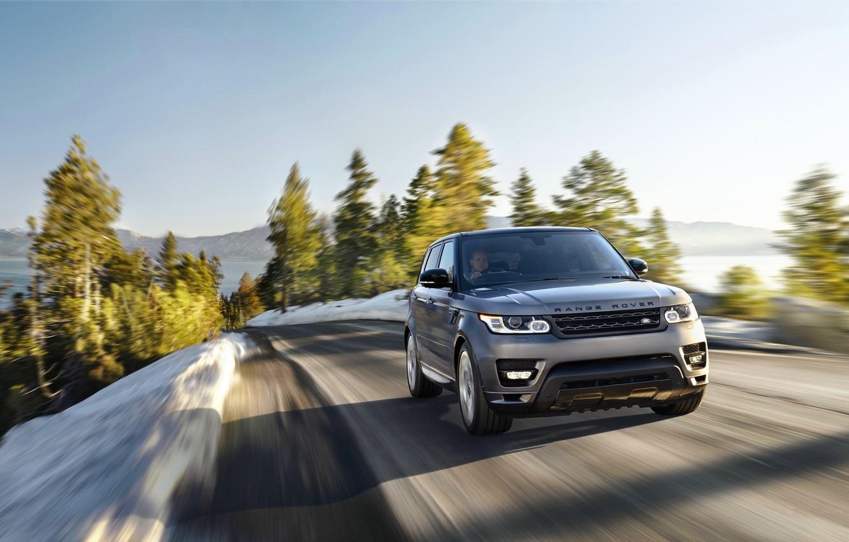 Photo wallpaper Road, Machine, Jeep, Land Rover, Range Rover, Driver, Sport, Blur, In motion