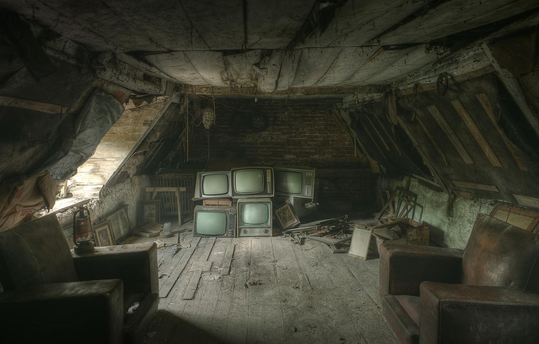 Photo wallpaper chairs, TV, attic